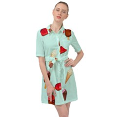 Ice Cream Pattern, Light Blue Background Belted Shirt Dress