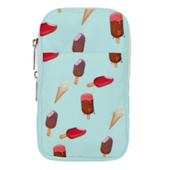 Ice Cream Pattern, Light Blue Background Waist Pouch (large)