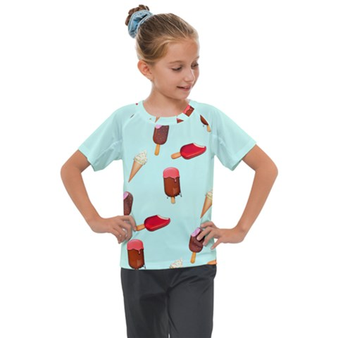 Ice Cream Pattern, Light Blue Background Kids  Mesh Piece Tee by Casemiro