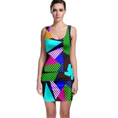 Trippy Blocks, Dotted Geometric Pattern Bodycon Dress