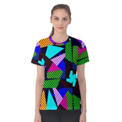 Trippy Blocks, Dotted Geometric Pattern Women s Cotton Tee