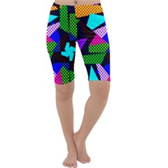 Trippy Blocks, Dotted Geometric Pattern Cropped Leggings