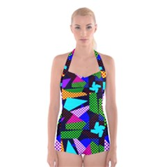 Trippy Blocks, Dotted Geometric Pattern Boyleg Halter Swimsuit