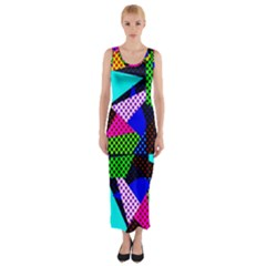 Trippy Blocks, Dotted Geometric Pattern Fitted Maxi Dress
