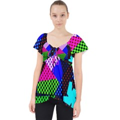 Trippy Blocks, Dotted Geometric Pattern Lace Front Dolly Top
