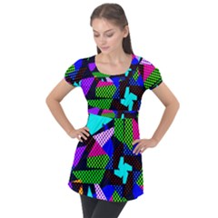 Trippy Blocks, Dotted Geometric Pattern Puff Sleeve Tunic Top
