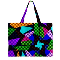 Trippy Blocks, Dotted Geometric Pattern Medium Tote Bag