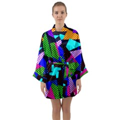 Trippy Blocks, Dotted Geometric Pattern Long Sleeve Satin Kimono
