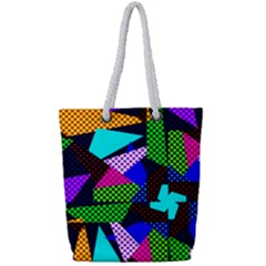 Trippy Blocks, Dotted Geometric Pattern Full Print Rope Handle Tote (small)