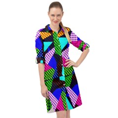 Trippy Blocks, Dotted Geometric Pattern Long Sleeve Mini Shirt Dress