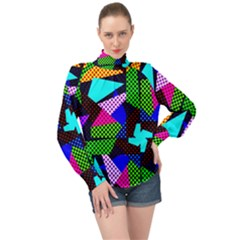 Trippy Blocks, Dotted Geometric Pattern High Neck Long Sleeve Chiffon Top