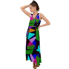 Trippy Blocks, Dotted Geometric Pattern V-neck Chiffon Maxi Dress