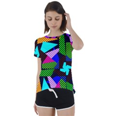 Trippy Blocks, Dotted Geometric Pattern Short Sleeve Foldover Tee