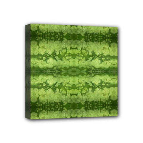 Watermelon Pattern, Fruit Skin In Green Colors Mini Canvas 4  X 4  (stretched)