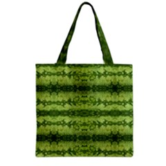Watermelon Pattern, Fruit Skin In Green Colors Grocery Tote Bag