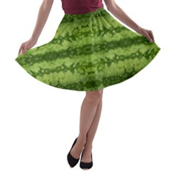 Watermelon Pattern, Fruit Skin In Green Colors A-line Skater Skirt by Casemiro