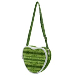 Watermelon Pattern, Fruit Skin In Green Colors Heart Shoulder Bag