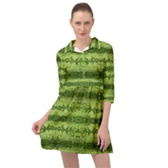 Watermelon Pattern, Fruit Skin In Green Colors Mini Skater Shirt Dress