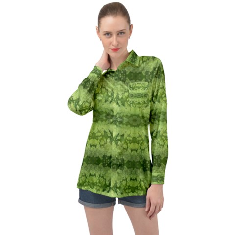 Watermelon Pattern, Fruit Skin In Green Colors Long Sleeve Satin Shirt by Casemiro
