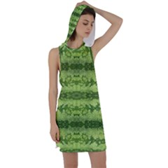 Watermelon Pattern, Fruit Skin In Green Colors Racer Back Hoodie Dress