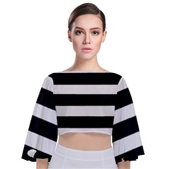 Black And White  Tie Back Butterfly Sleeve Chiffon Top