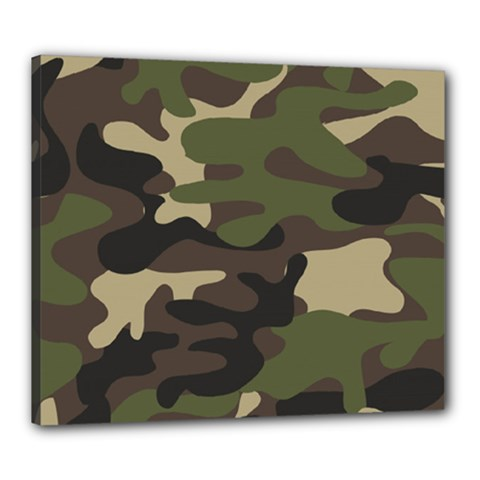 Texture Military Camouflage-repeats Seamless Army Green Hunting Canvas 24  X 20  (stretched)