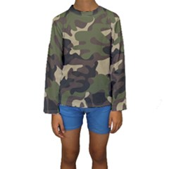 Texture Military Camouflage-repeats Seamless Army Green Hunting Kids  Long Sleeve Swimwear by Vaneshart