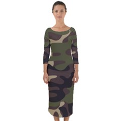 Texture Military Camouflage-repeats Seamless Army Green Hunting Quarter Sleeve Midi Bodycon Dress