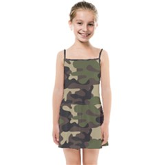 Texture Military Camouflage-repeats Seamless Army Green Hunting Kids  Summer Sun Dress