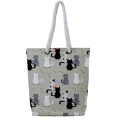 Cute Cat Seamless Pattern Full Print Rope Handle Tote (small) by Vaneshart