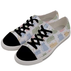 Cute Cat Colorful Cartoon Doodle Seamless Pattern Men s Low Top Canvas Sneakers by Vaneshart