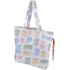 Cute Cat Colorful Cartoon Doodle Seamless Pattern Drawstring Tote Bag