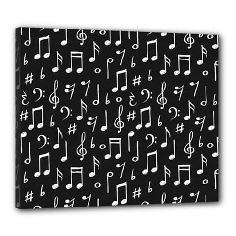 Chalk Music Notes Signs Seamless Pattern Canvas 24  X 20  (stretched)