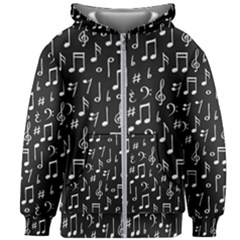 Chalk Music Notes Signs Seamless Pattern Kids  Zipper Hoodie Without Drawstring by Vaneshart
