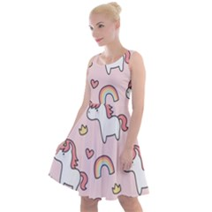 Cute Unicorn Rainbow Seamless Pattern Background Knee Length Skater Dress by Vaneshart
