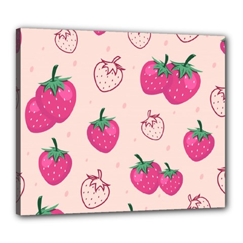 Seamless Strawberry Fruit Pattern Background Canvas 24  X 20  (stretched)