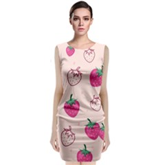 Seamless Strawberry Fruit Pattern Background Classic Sleeveless Midi Dress
