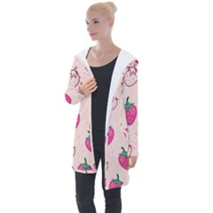 Seamless Strawberry Fruit Pattern Background Longline Hooded Cardigan