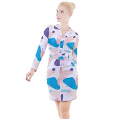 Hand Drawn Abstract Organic Shapes Background Button Long Sleeve Dress