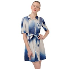 Blue Strips Belted Shirt Dress