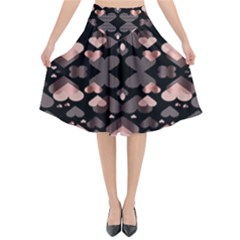 Shiny Hearts Flared Midi Skirt by Sparkle