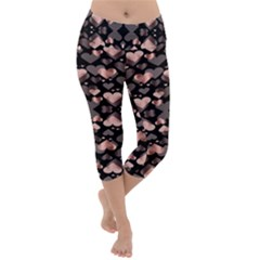 Shiny Hearts Lightweight Velour Capri Yoga Leggings by Sparkle