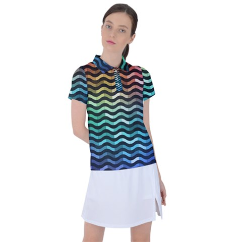 Digital Waves Women s Polo Tee by Sparkle