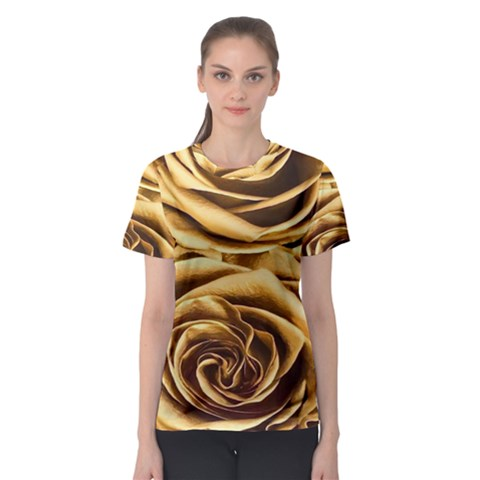 Gold Roses Women s Sport Mesh Tee by Sparkle