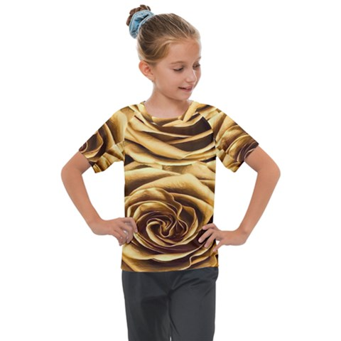 Gold Roses Kids  Mesh Piece Tee by Sparkle