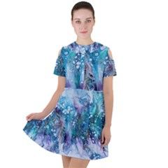 Sea Anemone  Short Sleeve Shoulder Cut Out Dress