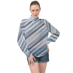 Modern Stripes Print High Neck Long Sleeve Chiffon Top by dflcprintsclothing