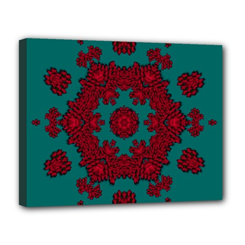 Cherry-blossom Mandala Of Sakura Branches Canvas 14  X 11  (stretched) by pepitasart