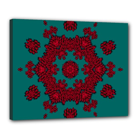 Cherry-blossom Mandala Of Sakura Branches Canvas 20  X 16  (stretched) by pepitasart