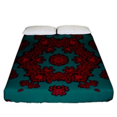 Cherry-blossom Mandala Of Sakura Branches Fitted Sheet (california King Size) by pepitasart
